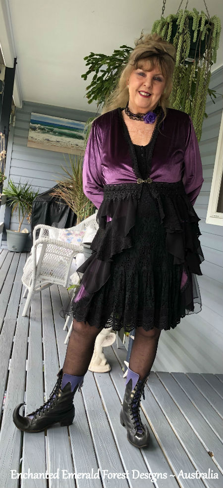 Purple Velour Stevie Nicks Style Victorian Ruffle Coat