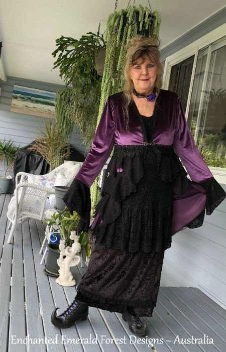 Purple Velour Victorian Ruffle Coat - Stevie Nicks Style Clothing
