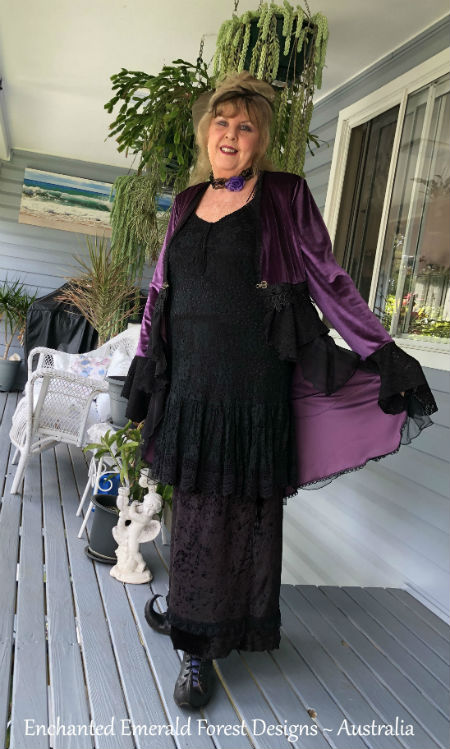 Purple Velvet Ruffle Victorian Coat