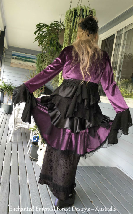 Stevie Nicks Style Purple Velour Victorian Ruffle Coat