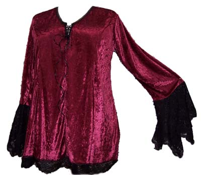 Gorgeous Burgundy Bell Style Plus Size Top