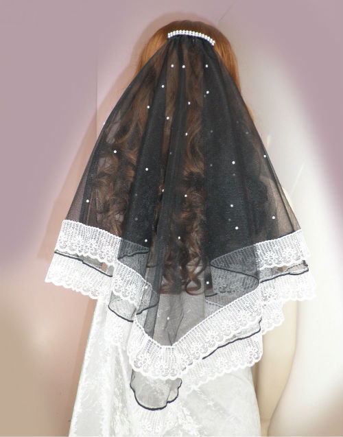 Black Bridal veil with wide lace and pearls -