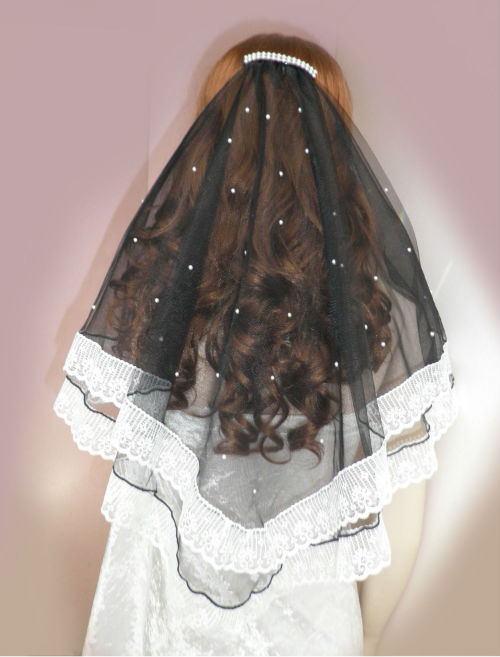 Black Veil with White Lace