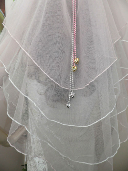 Pink and White Wedding Veil