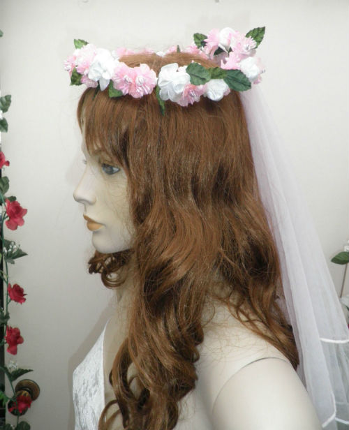 Pink and White Bridal Veil