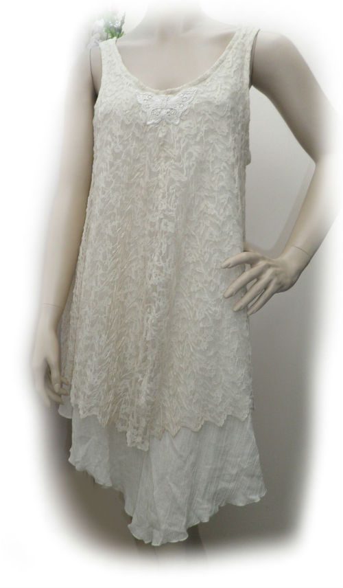 Cream Cheesecloth and Lace Fairy Flip Dress Size 14 - 16