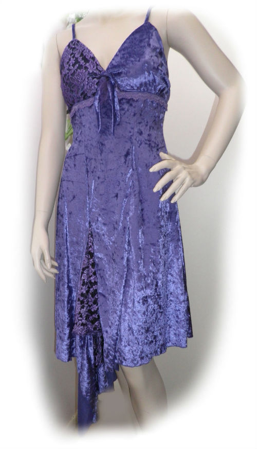 Purple Velvet and Lace Gypsy Dance Dress - Size 6 - 8